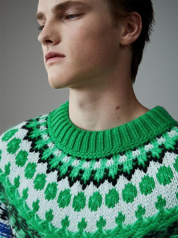 Pull mouliné en laine, mohair et cachemire à mailles multiples (Vert Turquoise Vif)