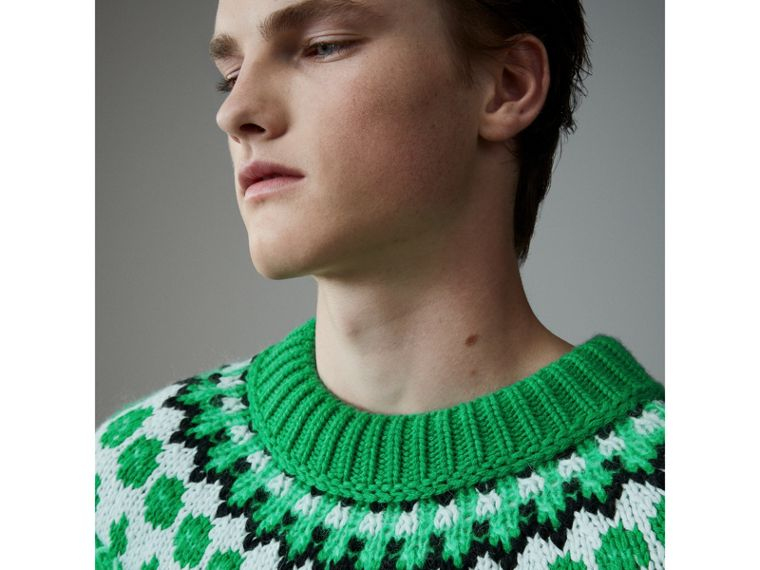 Multi-knit Cashmere Wool Mohair Mouliné Sweater in Bright Turquoise Green - Men | Burberry United Kingdom - cell image 1