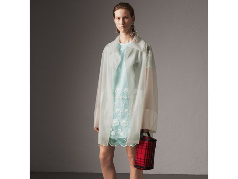 Short-sleeve Embroidered Tulle T-shirt Dress in Green - Women | Burberry - cell image 4