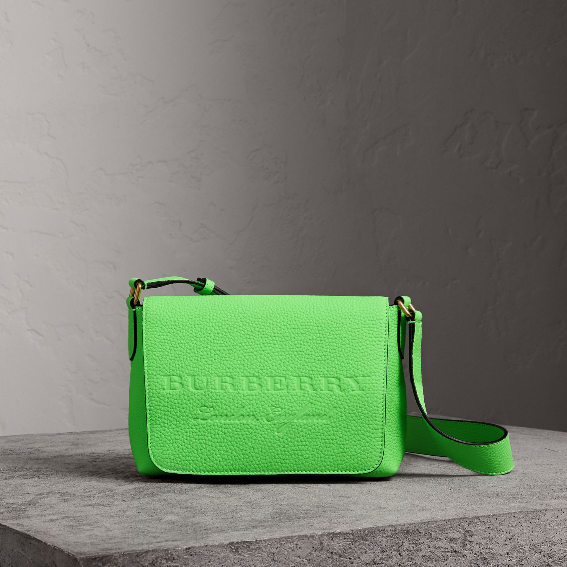 Small Embossed Neon Leather Messenger Bag in Green | Burberry - gallery image 0