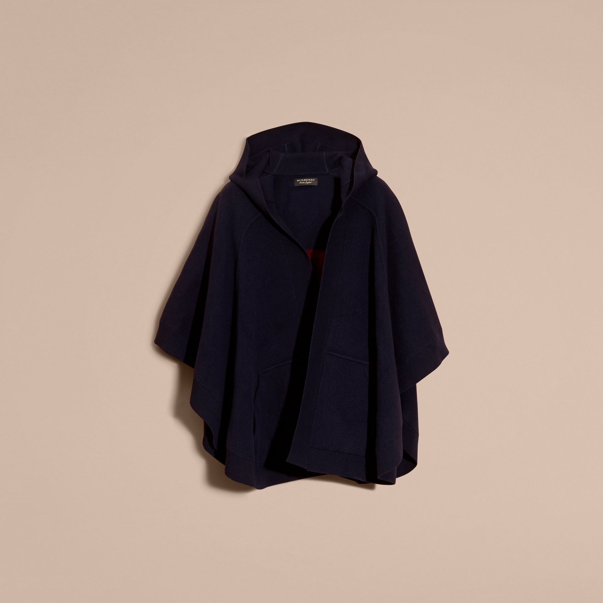 Navy/black Wool Cashmere Blend Hooded Poncho Navy/black - gallery image 4