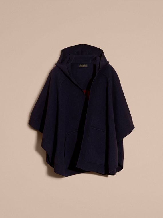 Navy/black Wool Cashmere Blend Hooded Poncho Navy/black - cell image 3