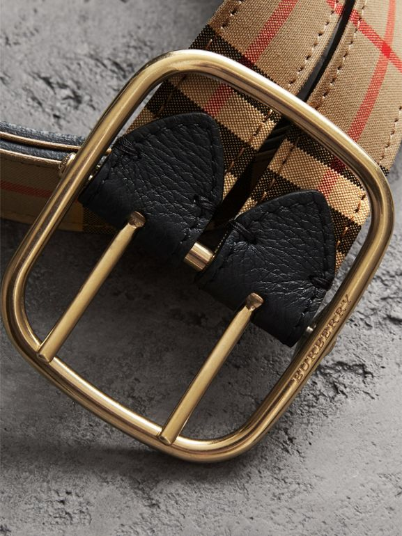 Vintage Check and Leather Double-strap Belt in Black - Women | Burberry Australia - cell image 1
