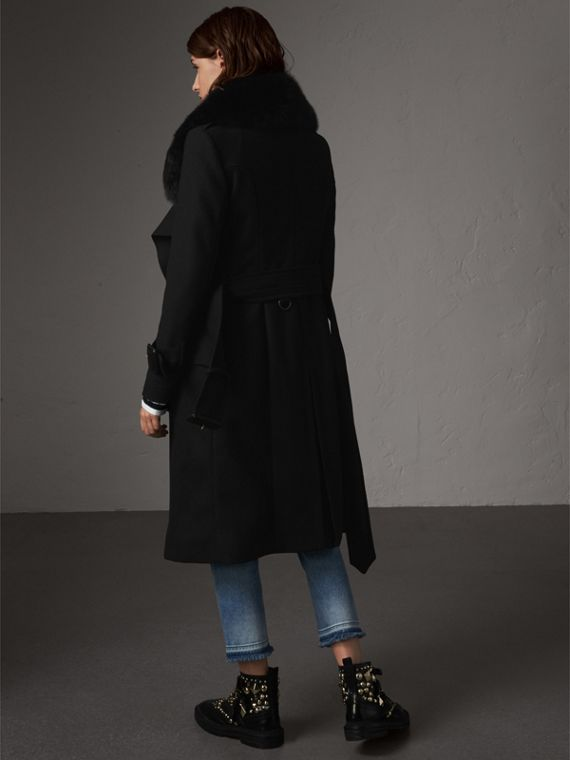 Detachable Fox Fur Collar Wool Blend Trench Coat in Black - Women | Burberry - cell image 2