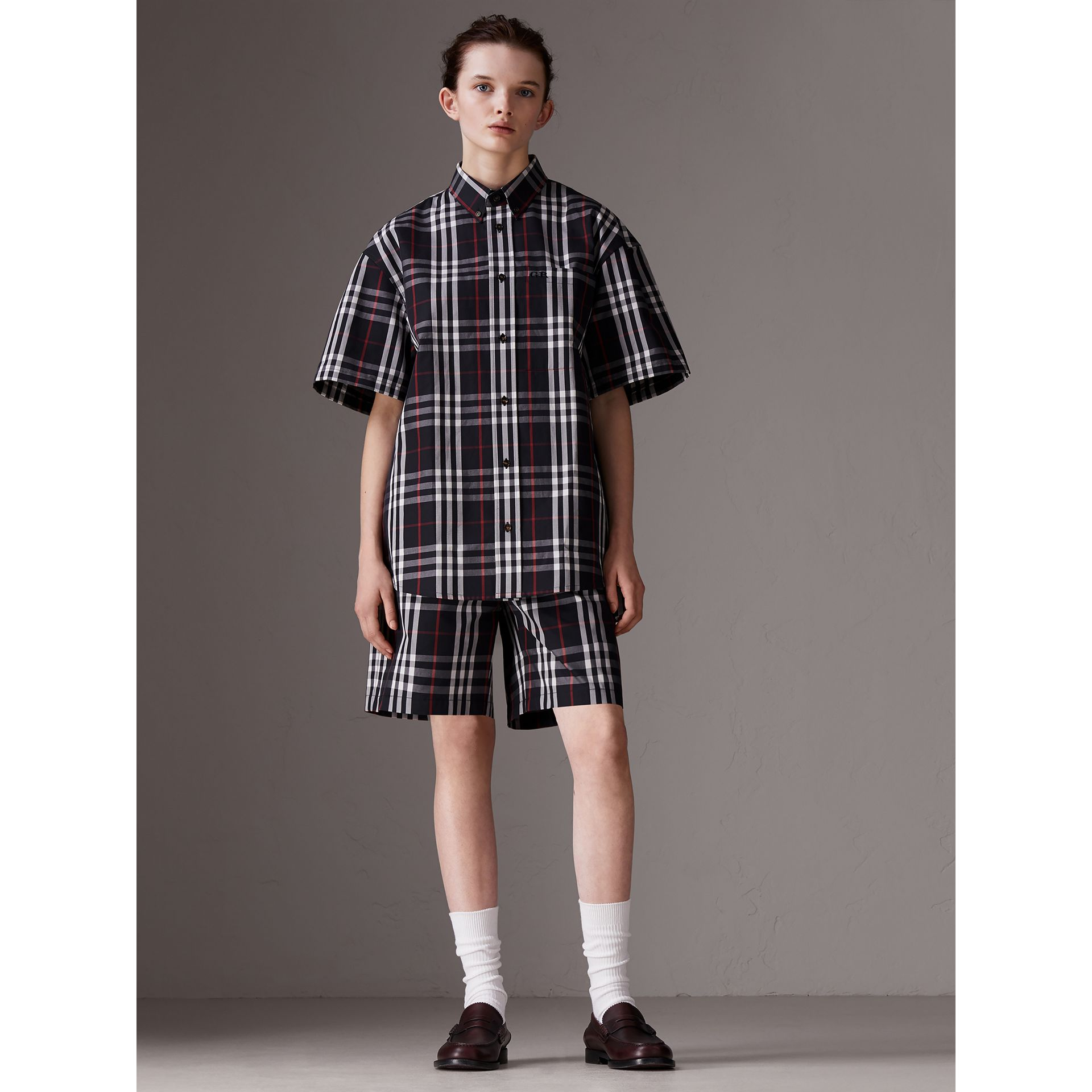 Gosha x Burberry Short-sleeve Check Shirt in Navy | Burberry Canada - gallery image 3