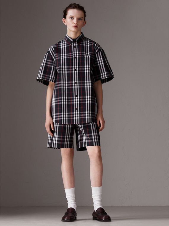 Gosha x Burberry Short-sleeve Check Shirt in Navy | Burberry United Kingdom - cell image 3