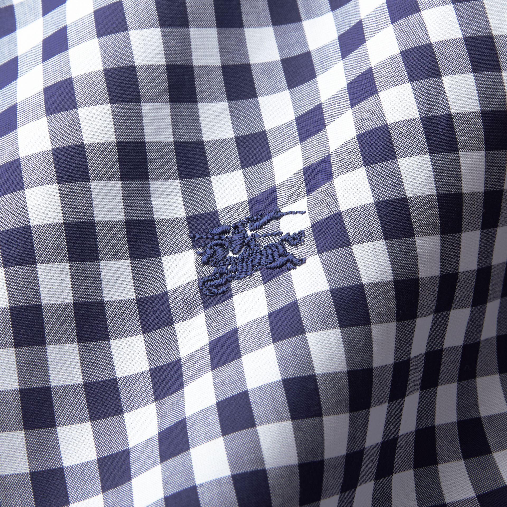Button-down Collar Gingham Cotton Shirt in Navy - Men | Burberry - gallery image 2