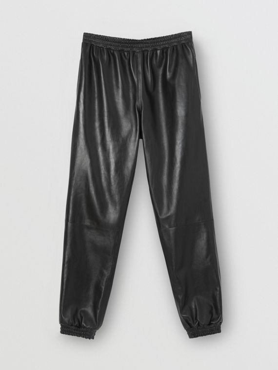 Track pants de couro de cordeiro plongé (Preto)
