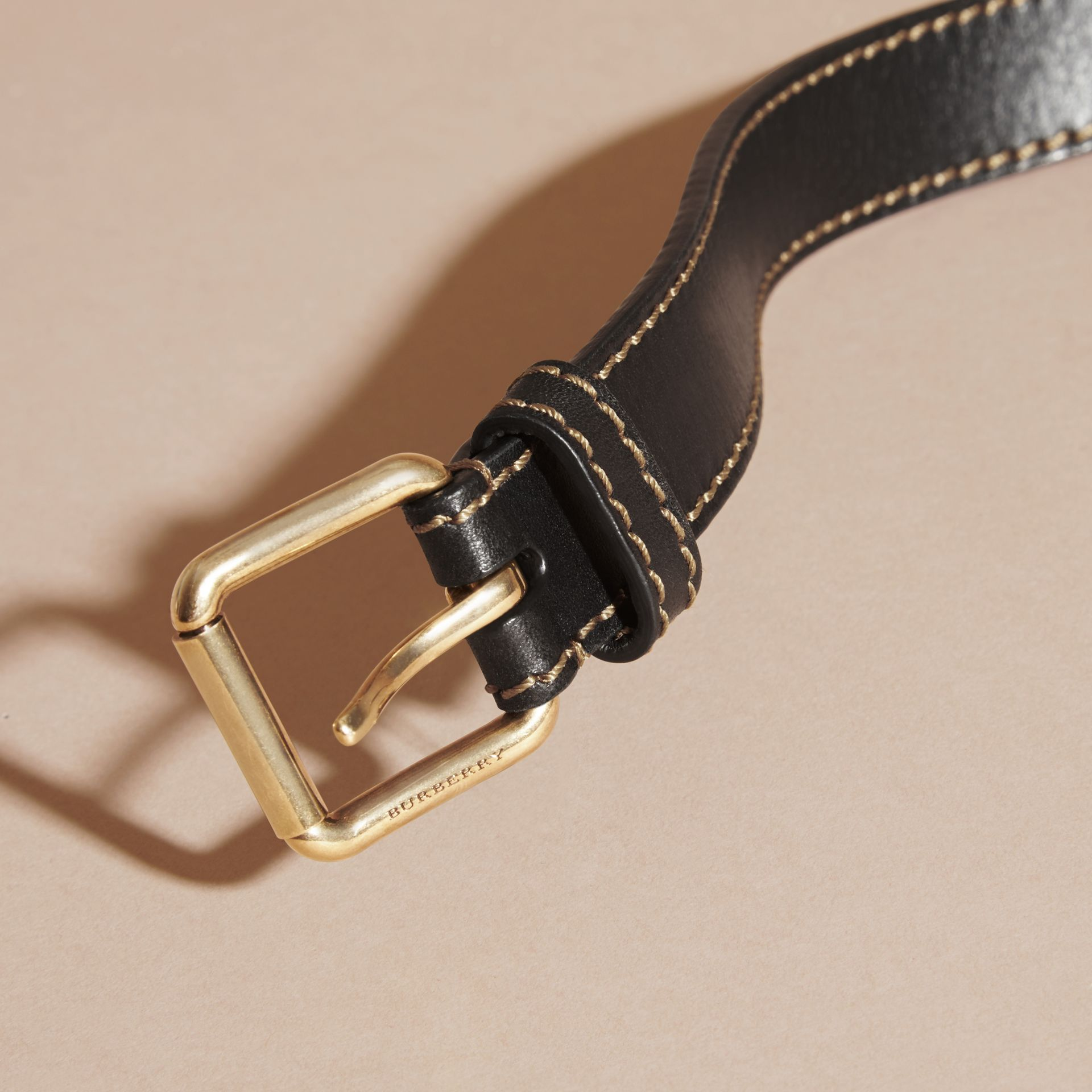 Black Smooth Leather Belt with Topstitch Detail - gallery image 2