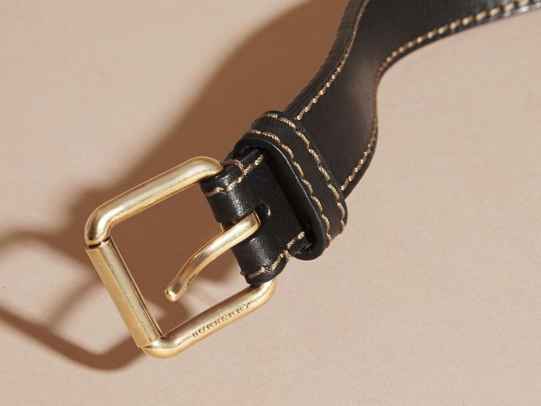 Black Smooth Leather Belt with Topstitch Detail - cell image 1