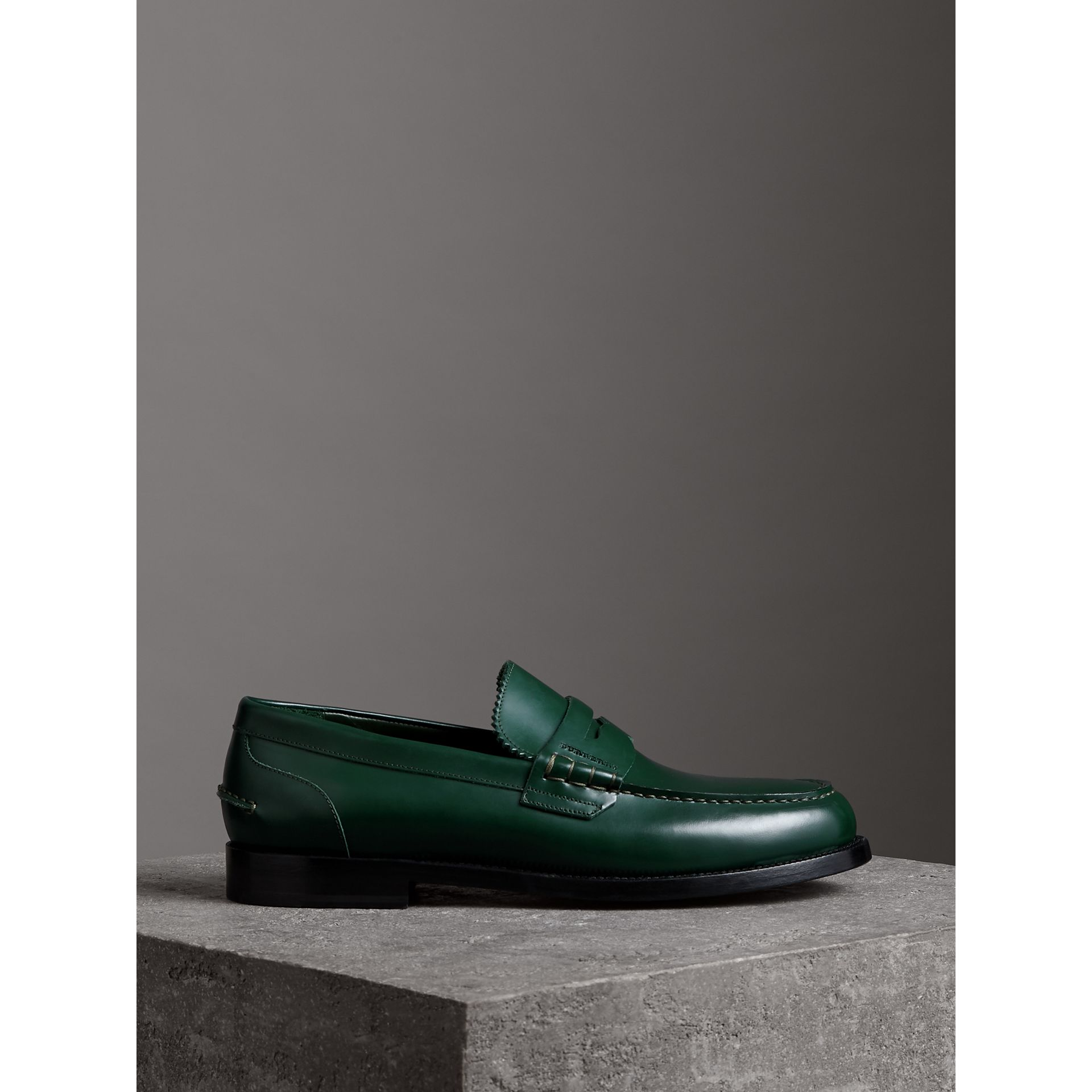 Leather Penny Loafers in Bottle Green - Men | Burberry - gallery image 4