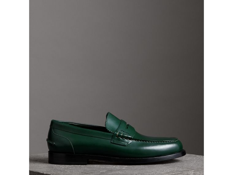 Leather Penny Loafers in Bottle Green - Men | Burberry United Kingdom - cell image 4