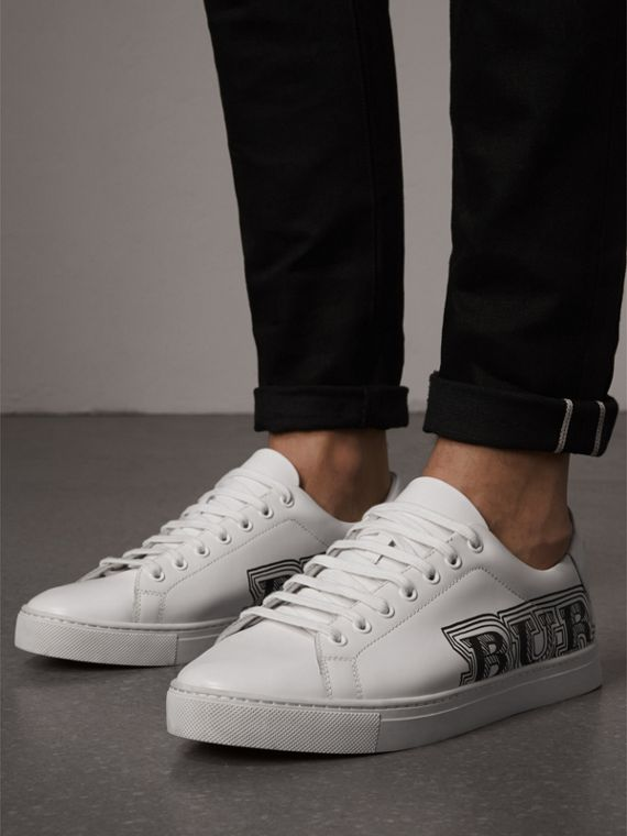 Doodle Print Leather Sneakers in Optic White - Men | Burberry - cell image 2