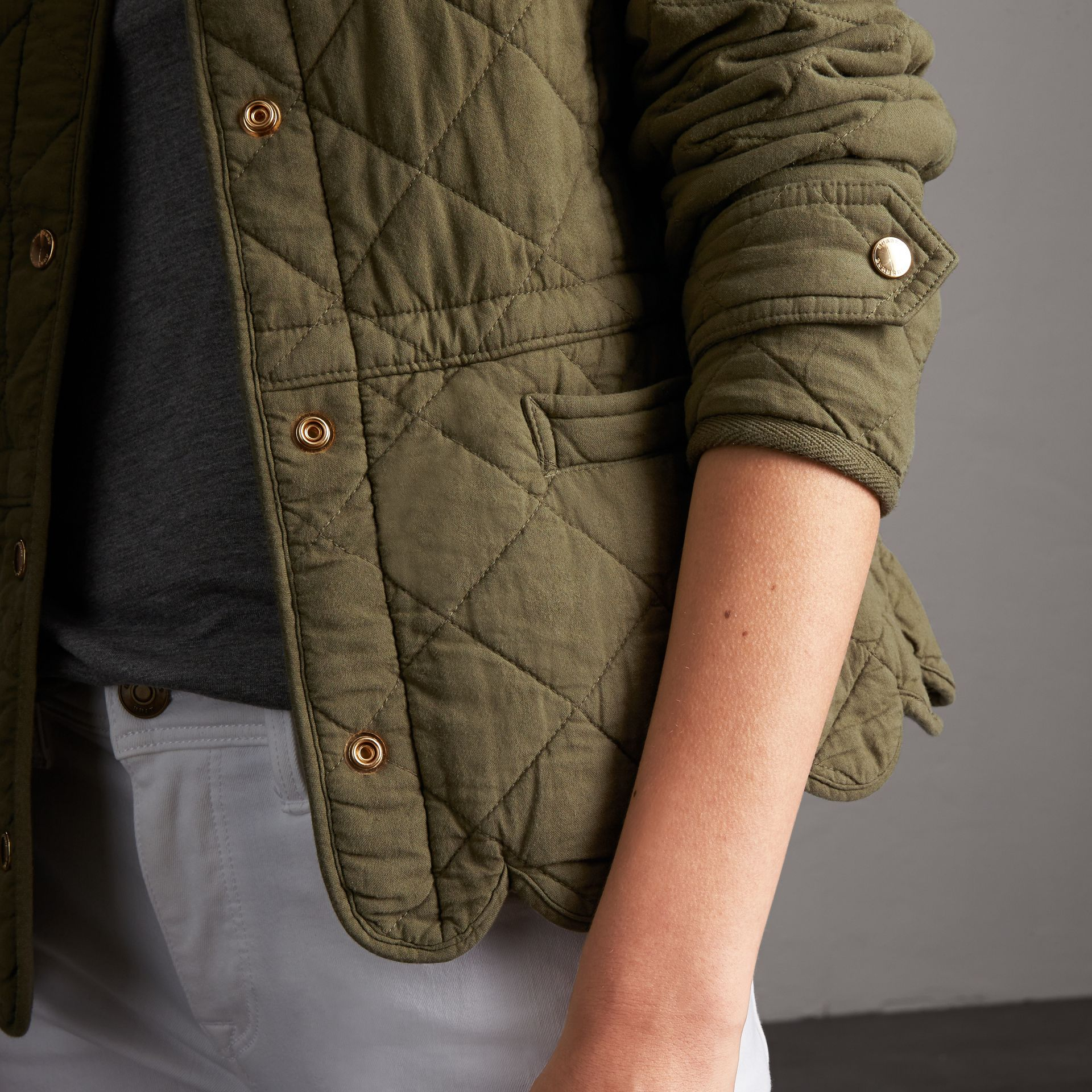 Scalloped Diamond Quilted Cotton Jacket in Olive - Women   Burberry - gallery image 5
