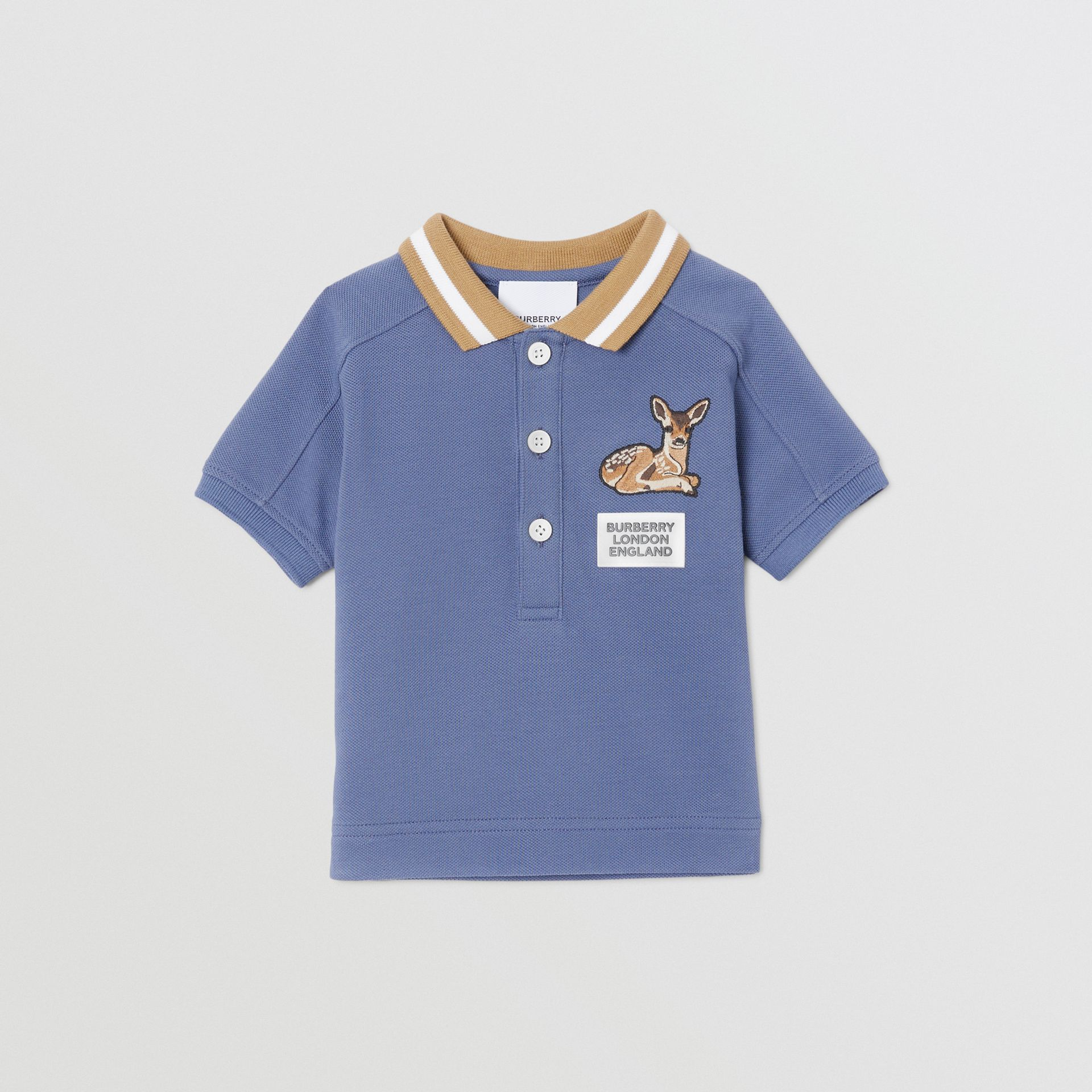 Deer Motif Cotton Polo Shirt in Steel Blue - Children | Burberry - gallery image 0