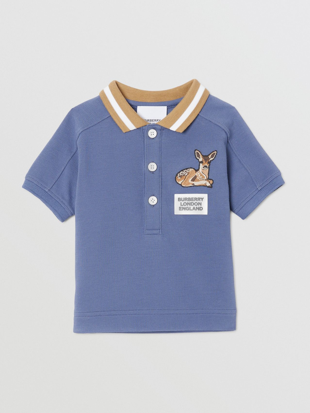 Deer Motif Cotton Polo Shirt (Steel Blue)