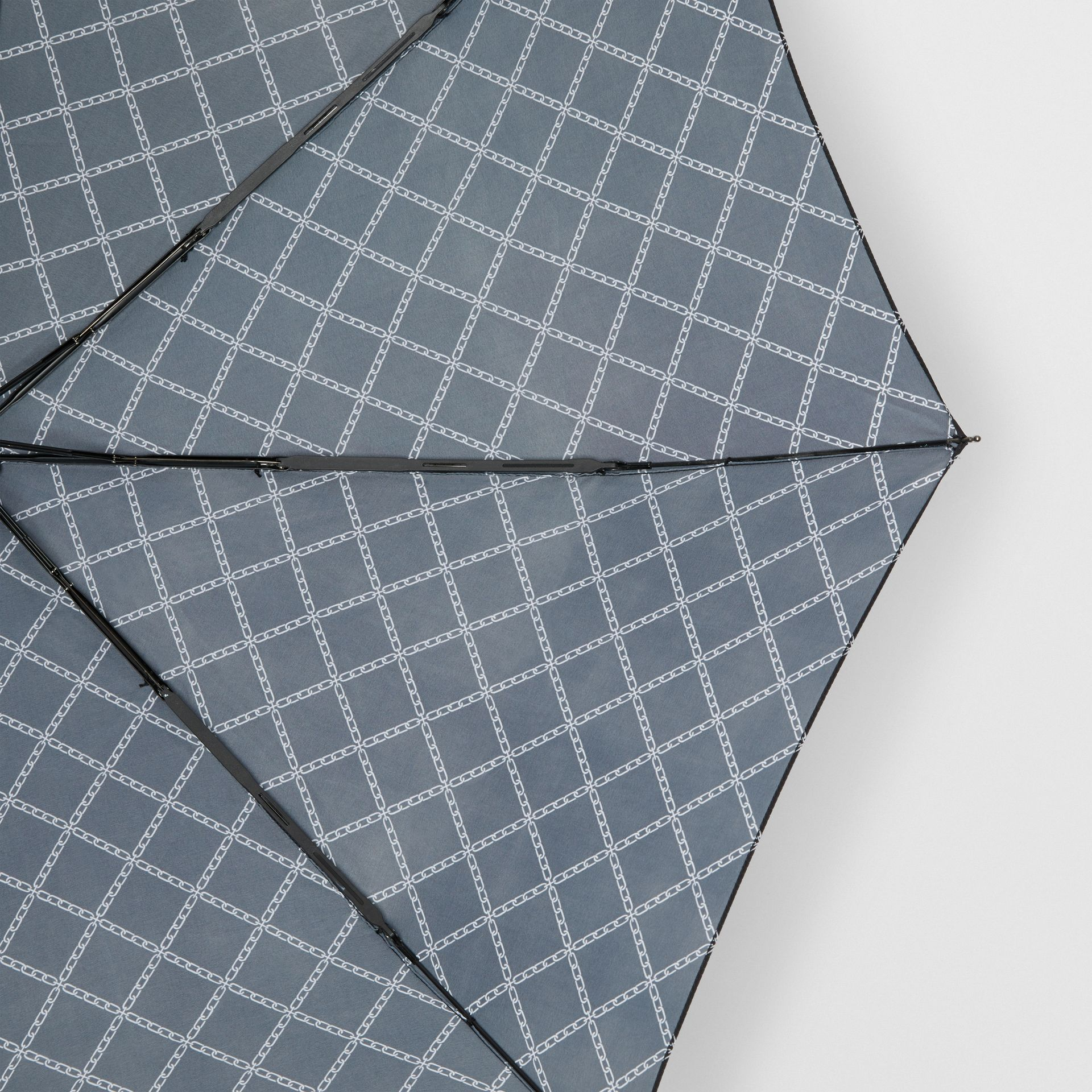 Link Print Folding Umbrella in Black/white | Burberry - gallery image 1