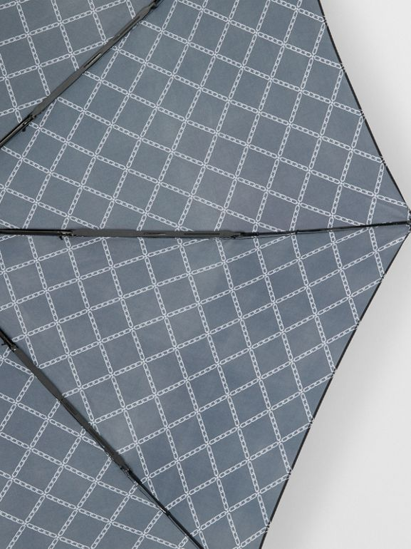 Link Print Folding Umbrella in Black/white | Burberry - cell image 1