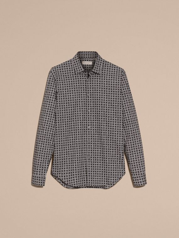 Navy Modern Fit Tile Print Cotton Shirt - cell image 3