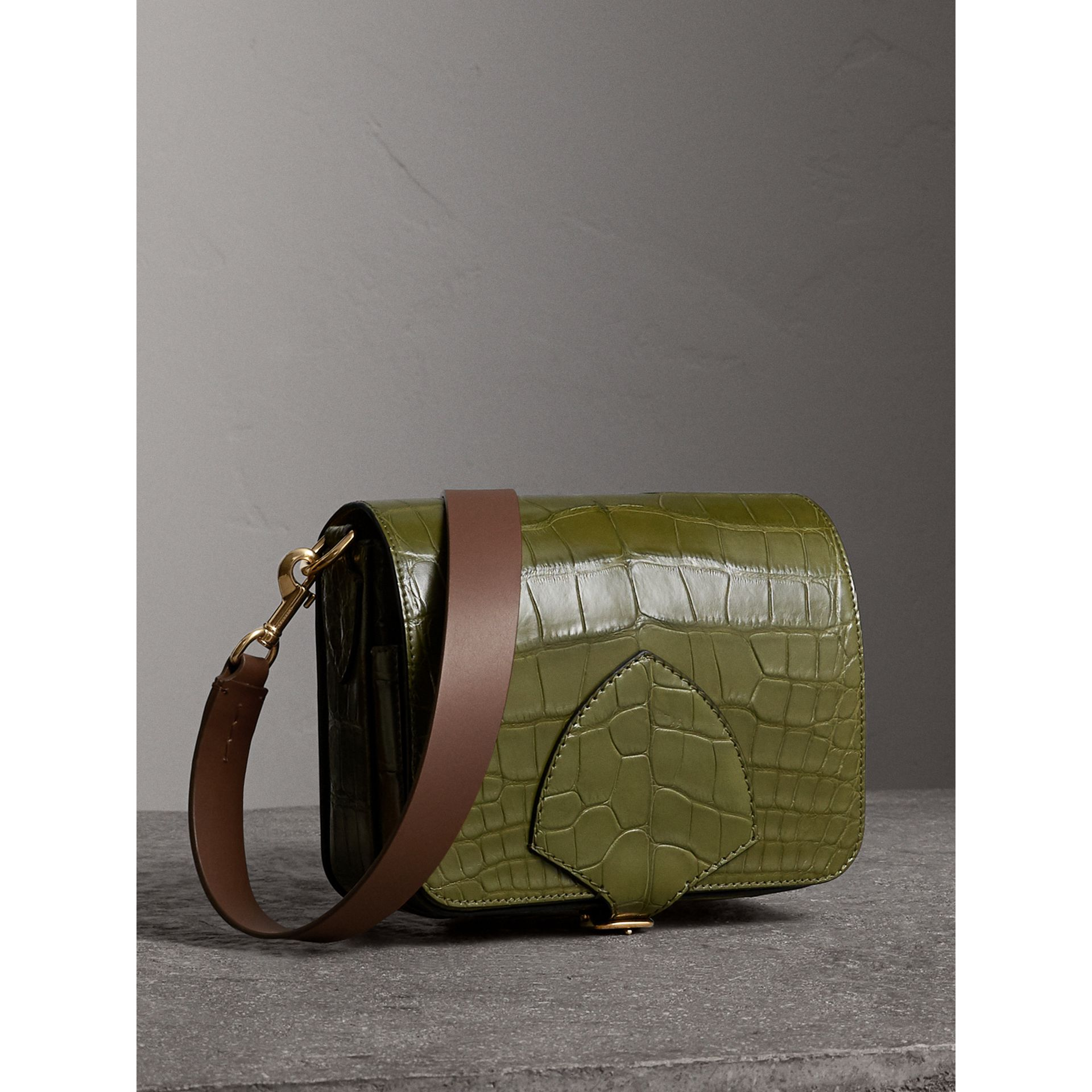 The Square Satchel in Alligator in Dark Antique Green - Women | Burberry - gallery image 8