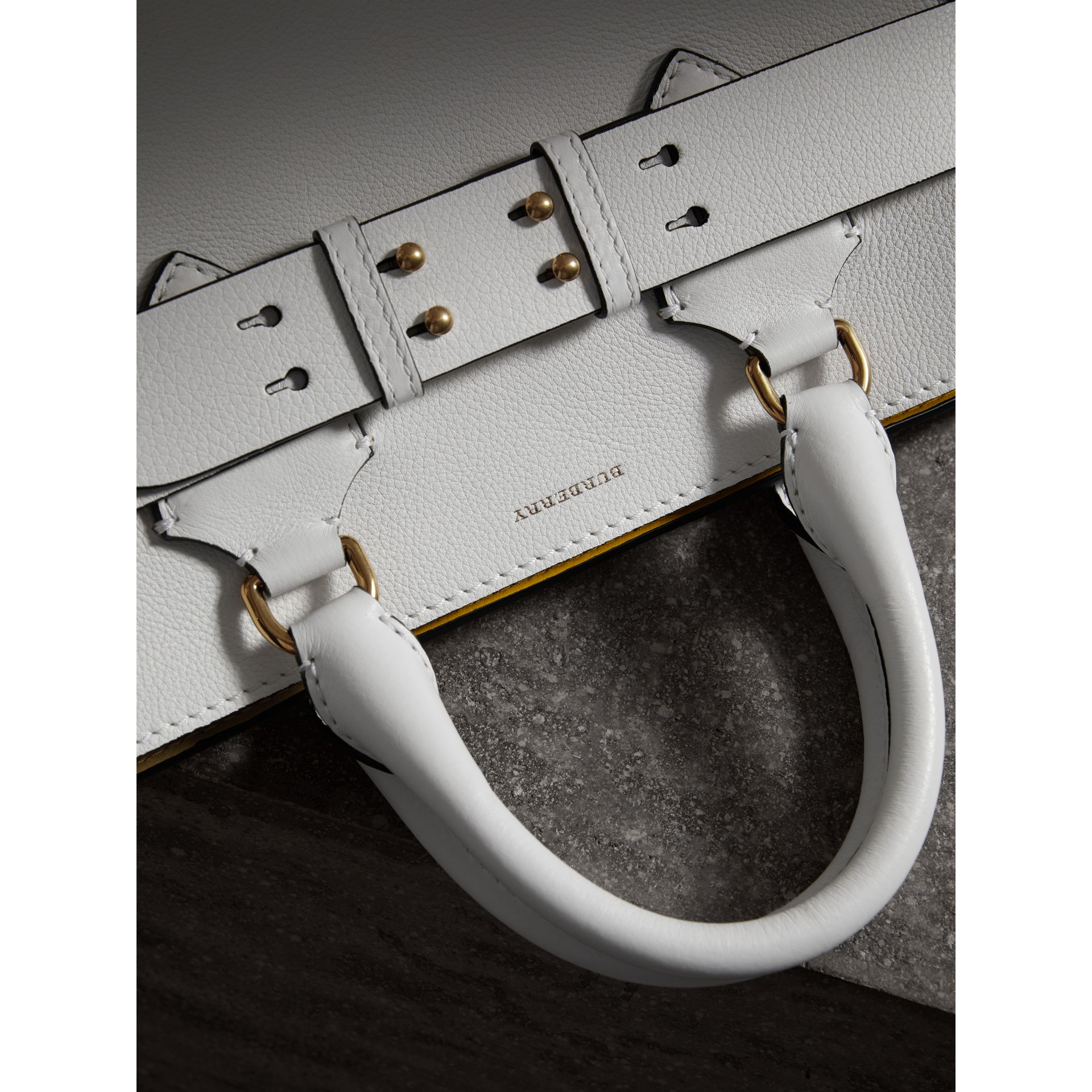 The Medium Leather Belt Bag in Chalk White - Women | Burberry Singapore - gallery image 1