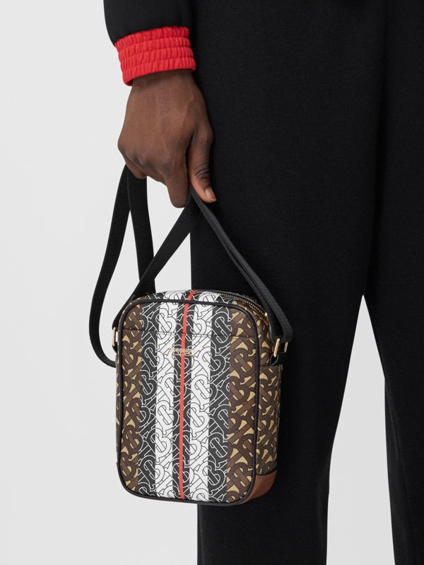 Monogram Stripe Print E-canvas Crossbody Bag in Bridle Brown - Men | Burberry United Kingdom - cell image 2