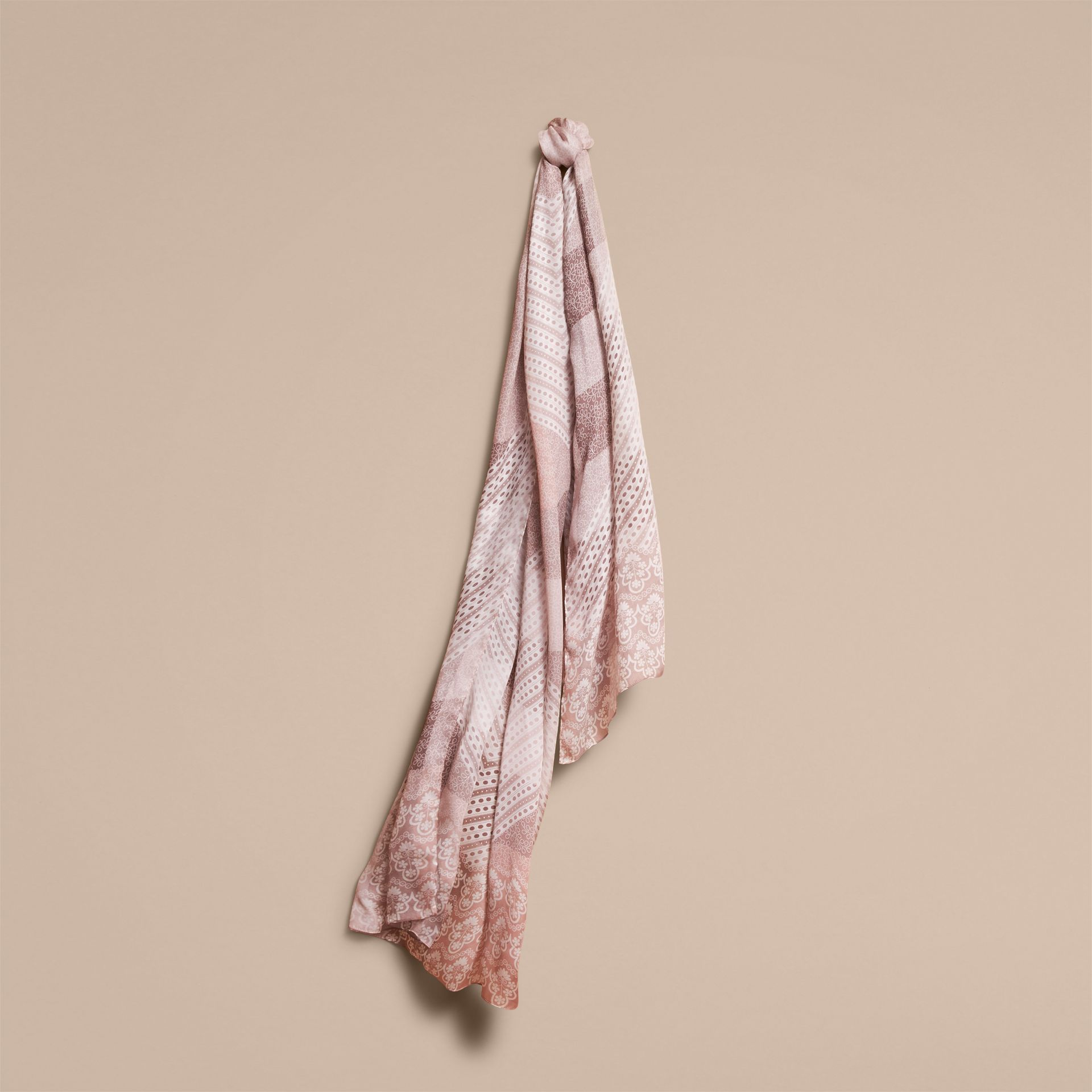 Floral Lace and Check Print Silk Scarf in Ash Rose - Women | Burberry Singapore - gallery image 1