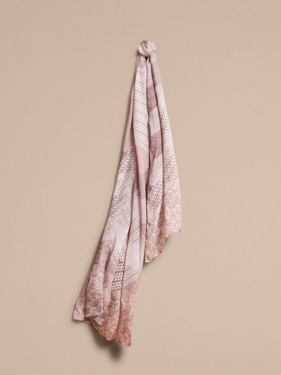 Floral Lace and Check Print Silk Scarf Ash Rose