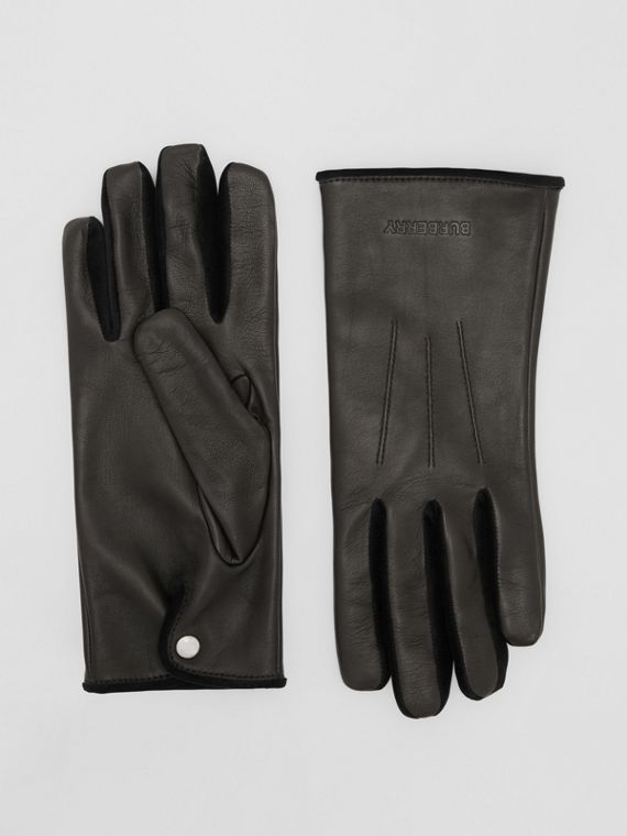 Embossed Logo Cashmere-lined Lambskin Gloves in Black