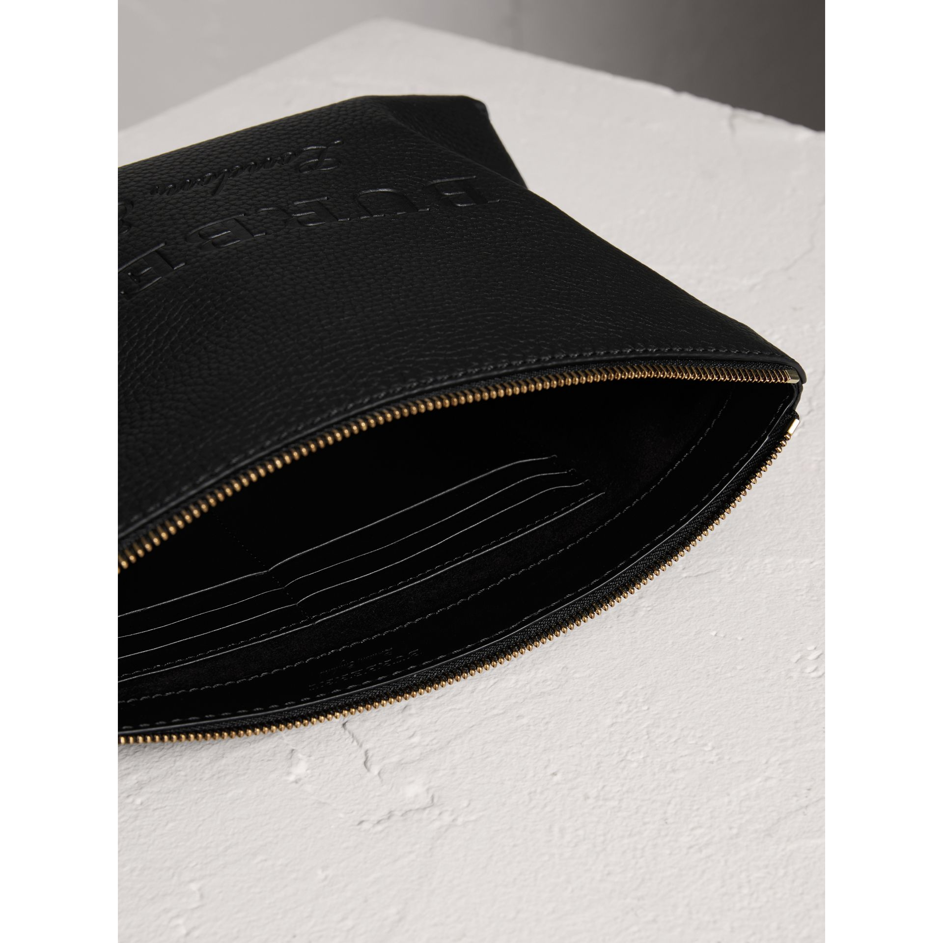 Large Embossed Leather Zip Pouch in Black | Burberry - gallery image 5