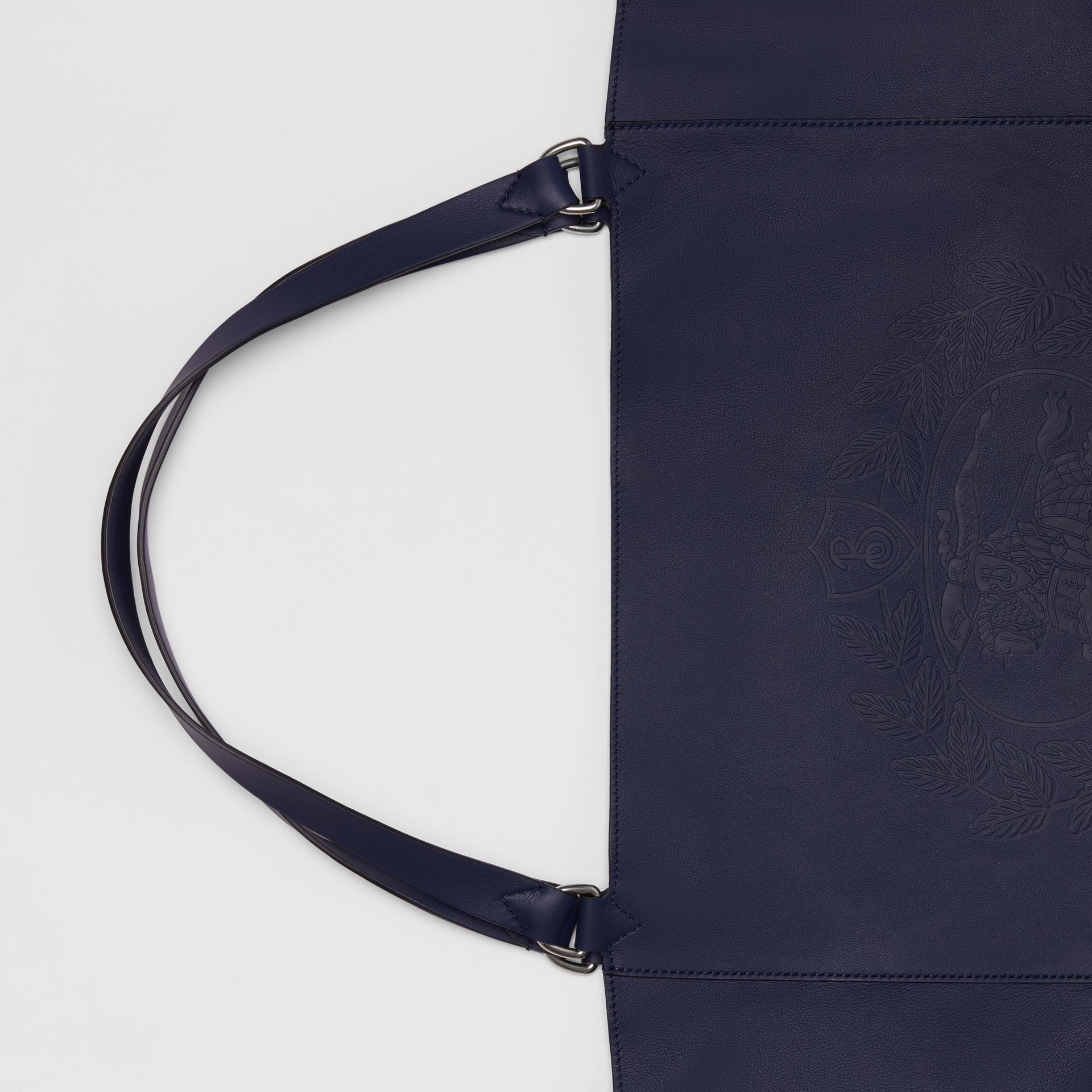 Large Embossed Crest Bonded Leather Tote in Regency Blue - Men | Burberry United Kingdom - gallery image 1