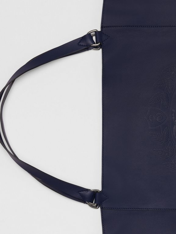 Large Embossed Crest Bonded Leather Tote in Regency Blue - Men | Burberry United Kingdom - cell image 1