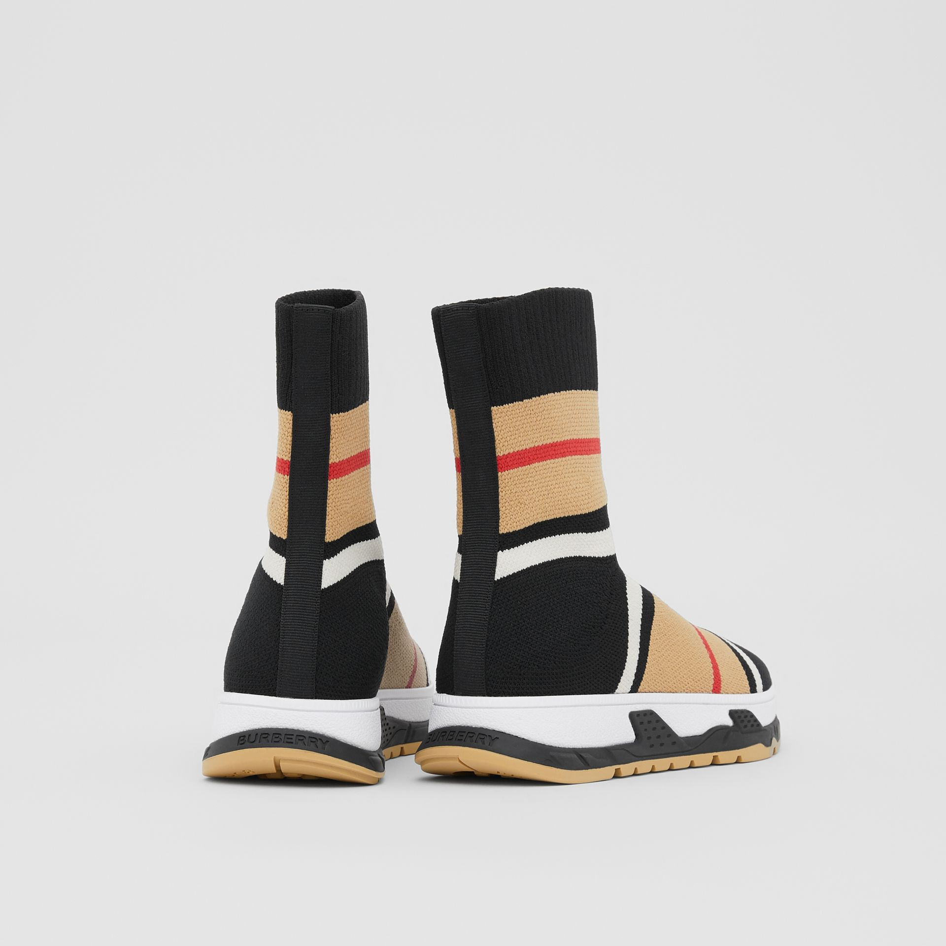 Striped Stretch Knit Sock Sneakers in Black - Children | Burberry - gallery image 2