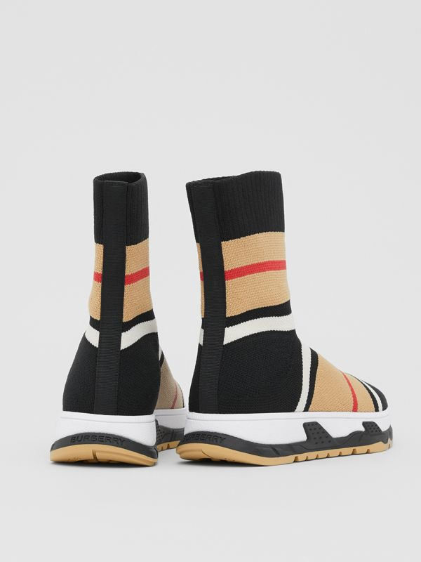 Striped Stretch Knit Sock Sneakers in Black - Children | Burberry - cell image 2