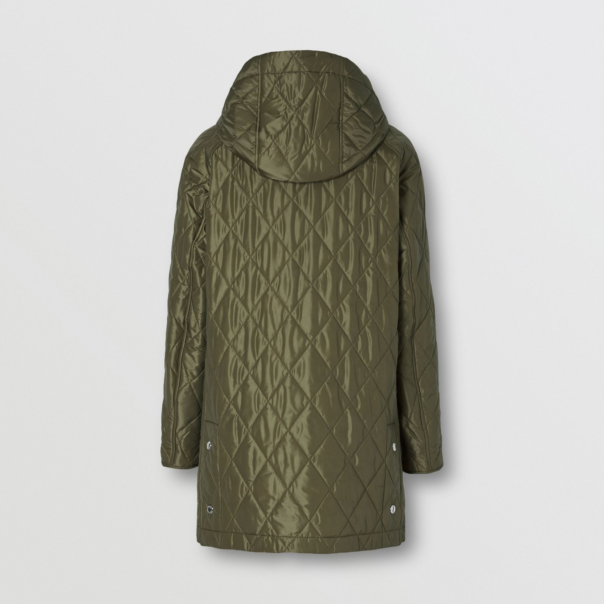 Diamond Quilted Hooded Coat in Cadet Green - Women | Burberry - gallery image 6