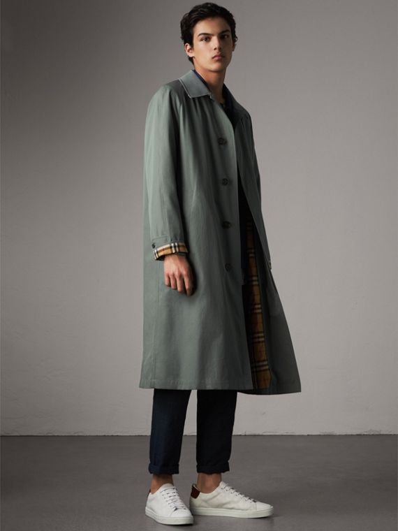 The Brighton – Longline Car Coat in Dusty Blue - Men | Burberry Canada