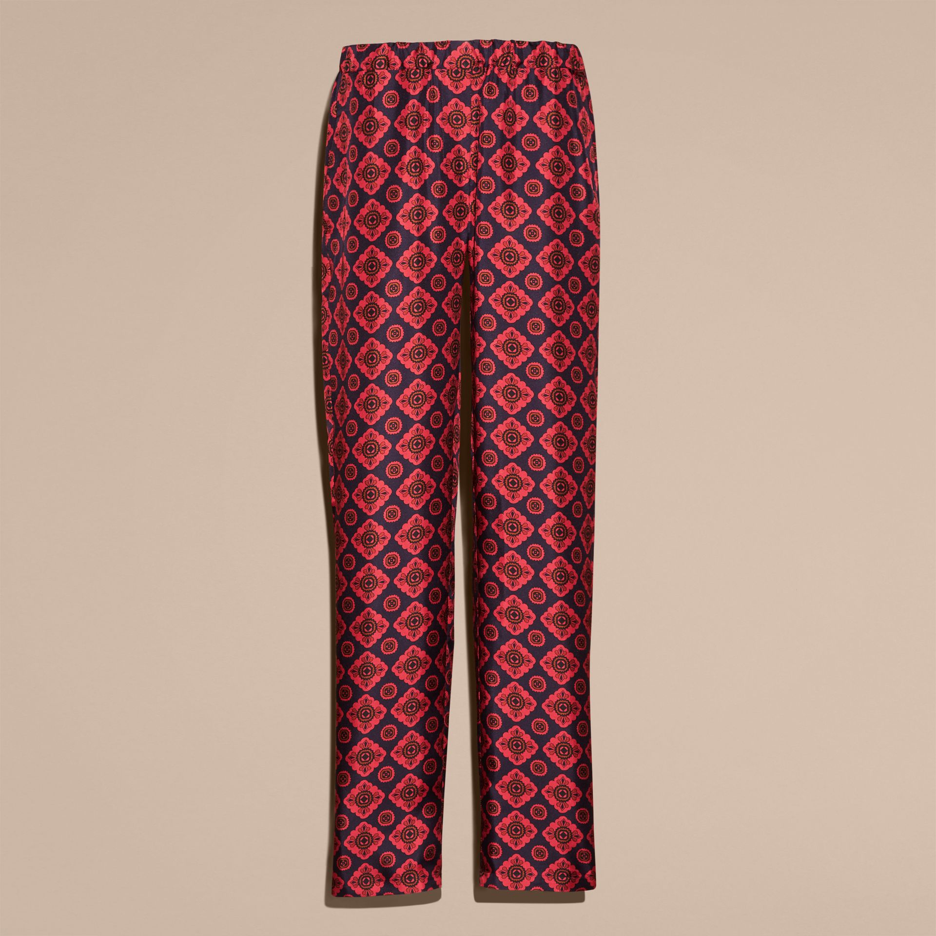 Navy Geometric Tile Print Silk Twill Pyjama-style Trousers - gallery image 4