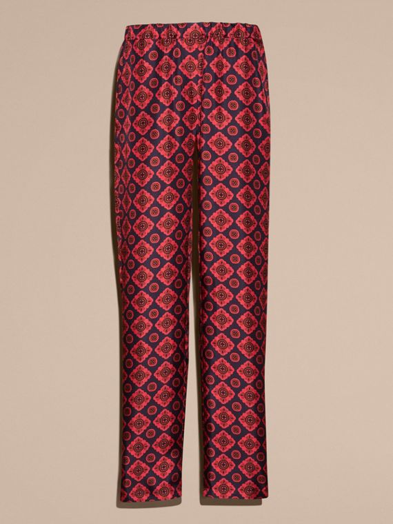 Geometric Tile Print Silk Twill Pyjama-style Trousers - cell image 3