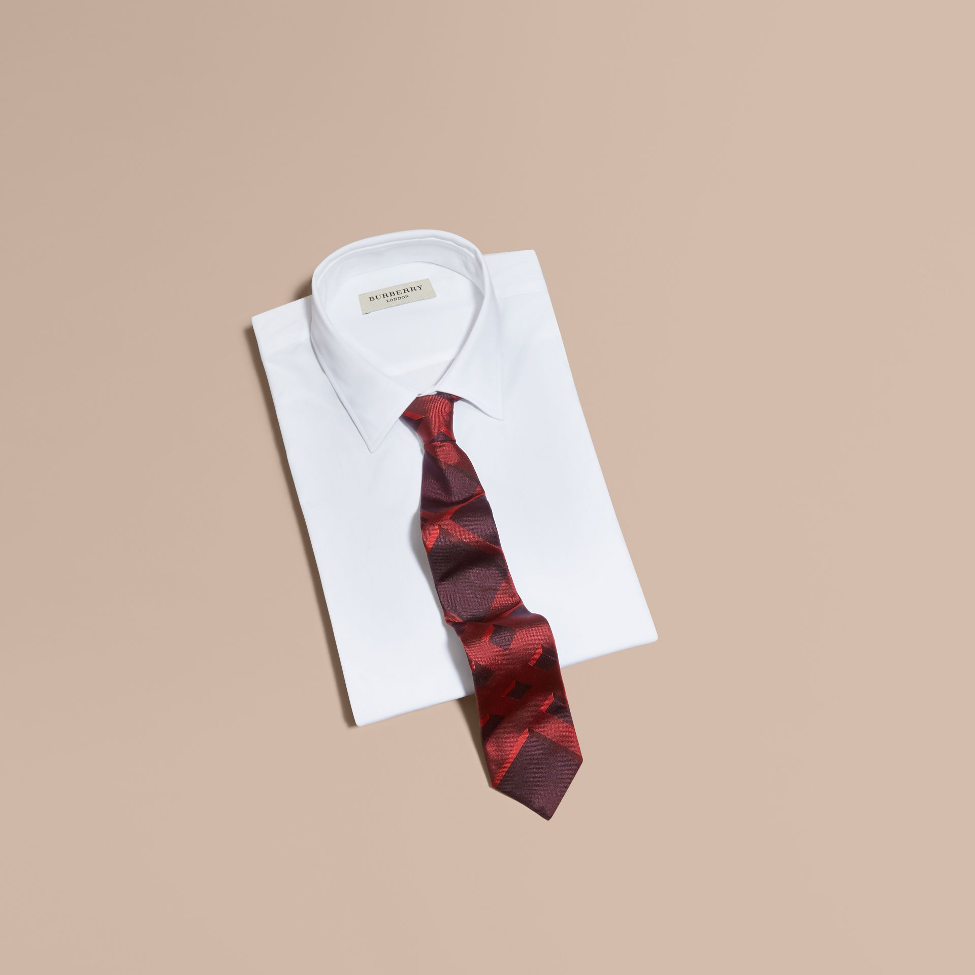 Modern Cut Check Jacquard Silk Tie Military Red - gallery image 4