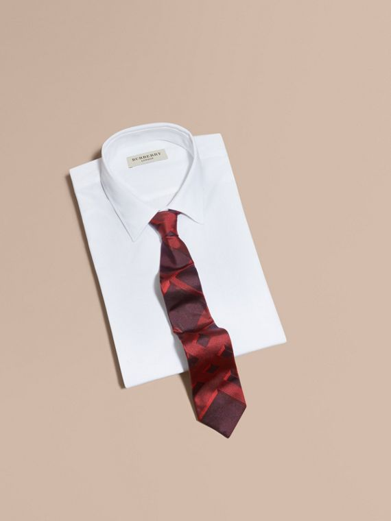 Modern Cut Check Jacquard Silk Tie Military Red - cell image 3