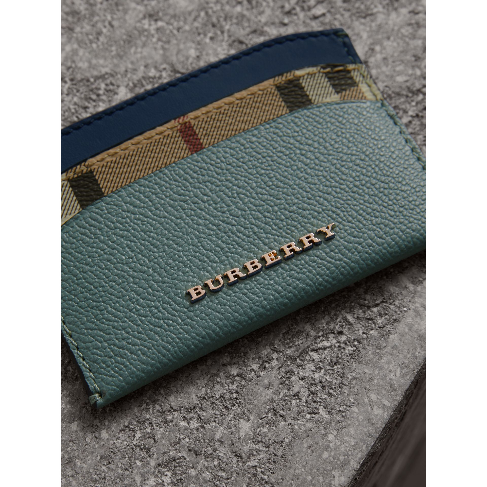 Colour Block Leather and Haymarket Check Card Case in Eucalyptus Grn/multi - Women | Burberry - gallery image 2