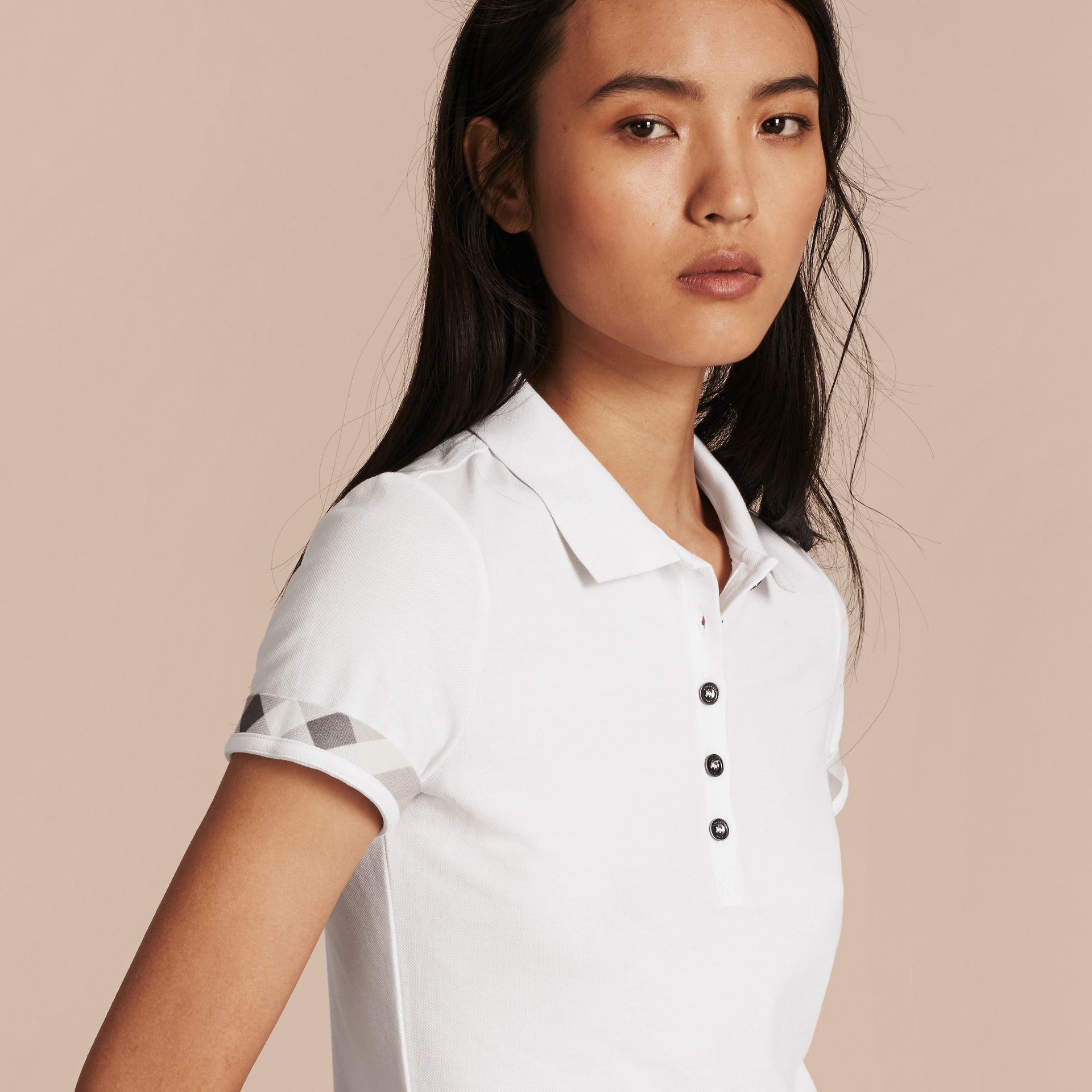 Check Trim Stretch Cotton Piqué Polo Shirt in White - gallery image 5