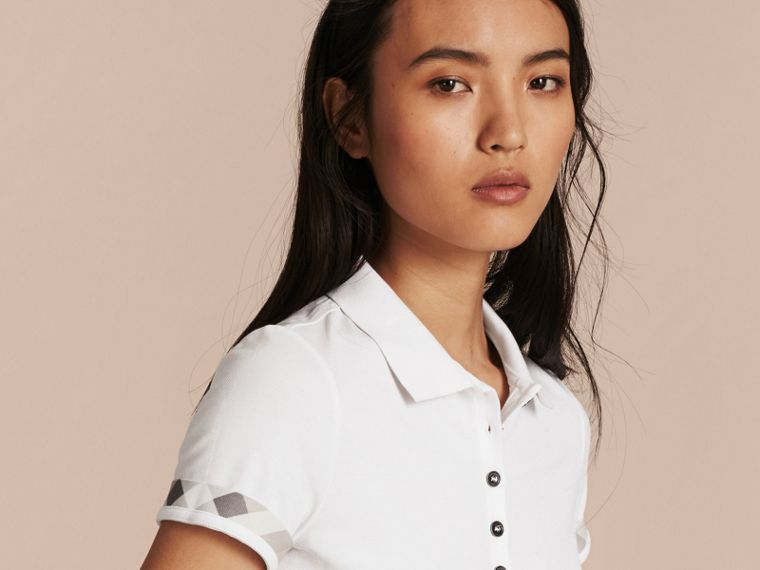 Check Trim Stretch Cotton Piqué Polo Shirt in White - Women | Burberry - cell image 4