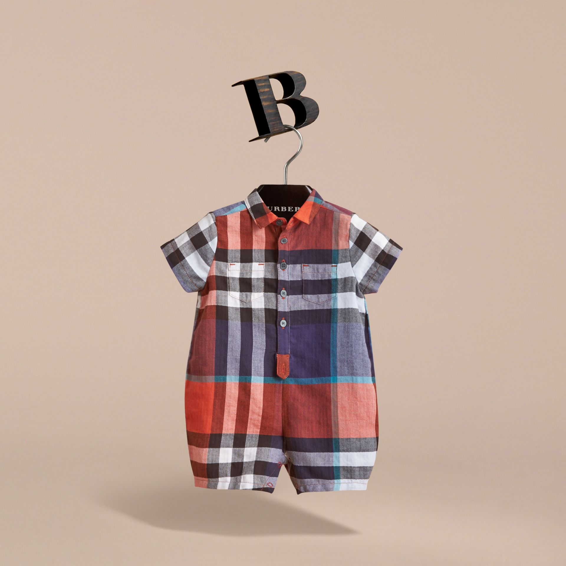 Check Cotton Playsuit in Ornge Red/cornflower Blue | Burberry - gallery image 3