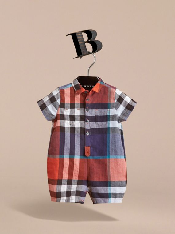 Check Cotton Playsuit in Ornge Red/cornflower Blue | Burberry - cell image 2