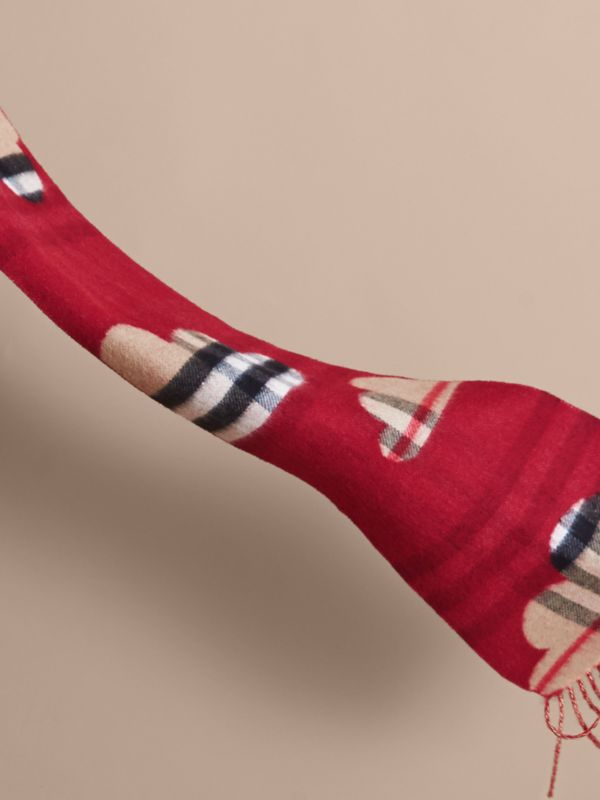 Reversible Weather Pattern Check Cashmere Mini Scarf in Parade Red | Burberry - cell image 2