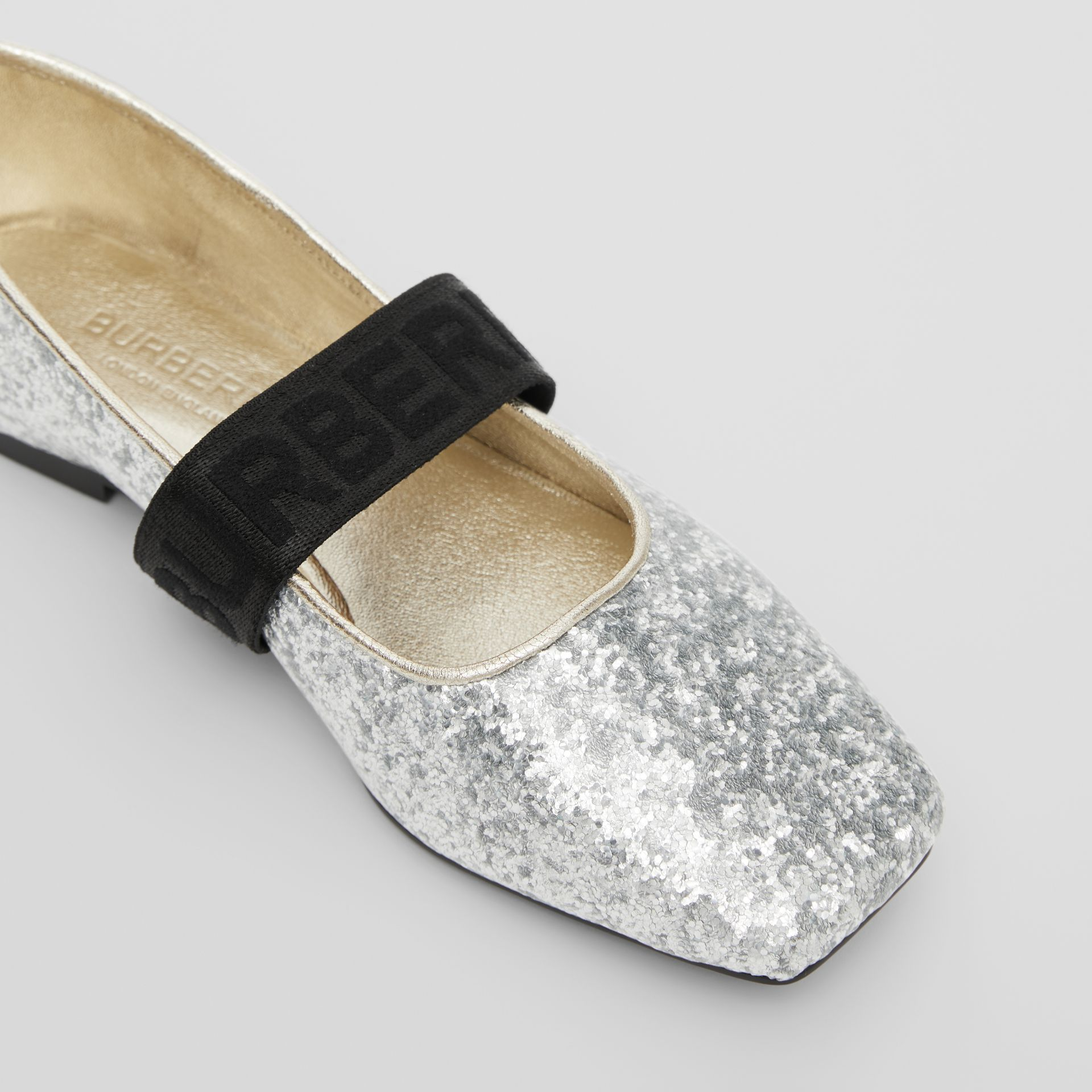 Logo Detail Glittery Flats in Silver - Children | Burberry - gallery image 1