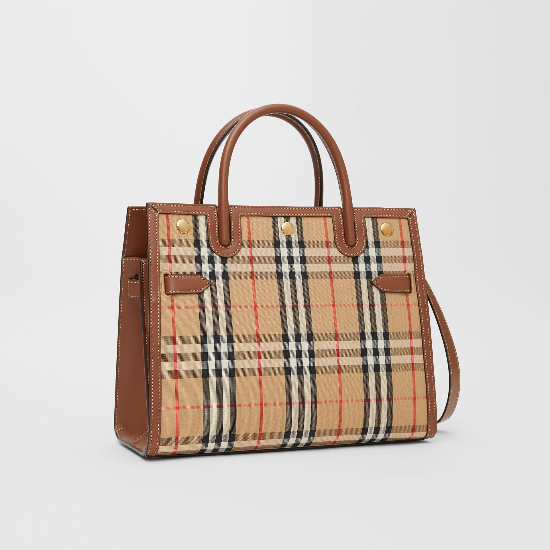 Medium Vintage Check Two-handle Title Bag in Archive Beige - Women | Burberry Canada - gallery image 6