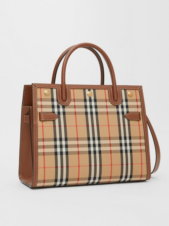 Borsa Title media in Vintage check con due manici (Beige Archivio)