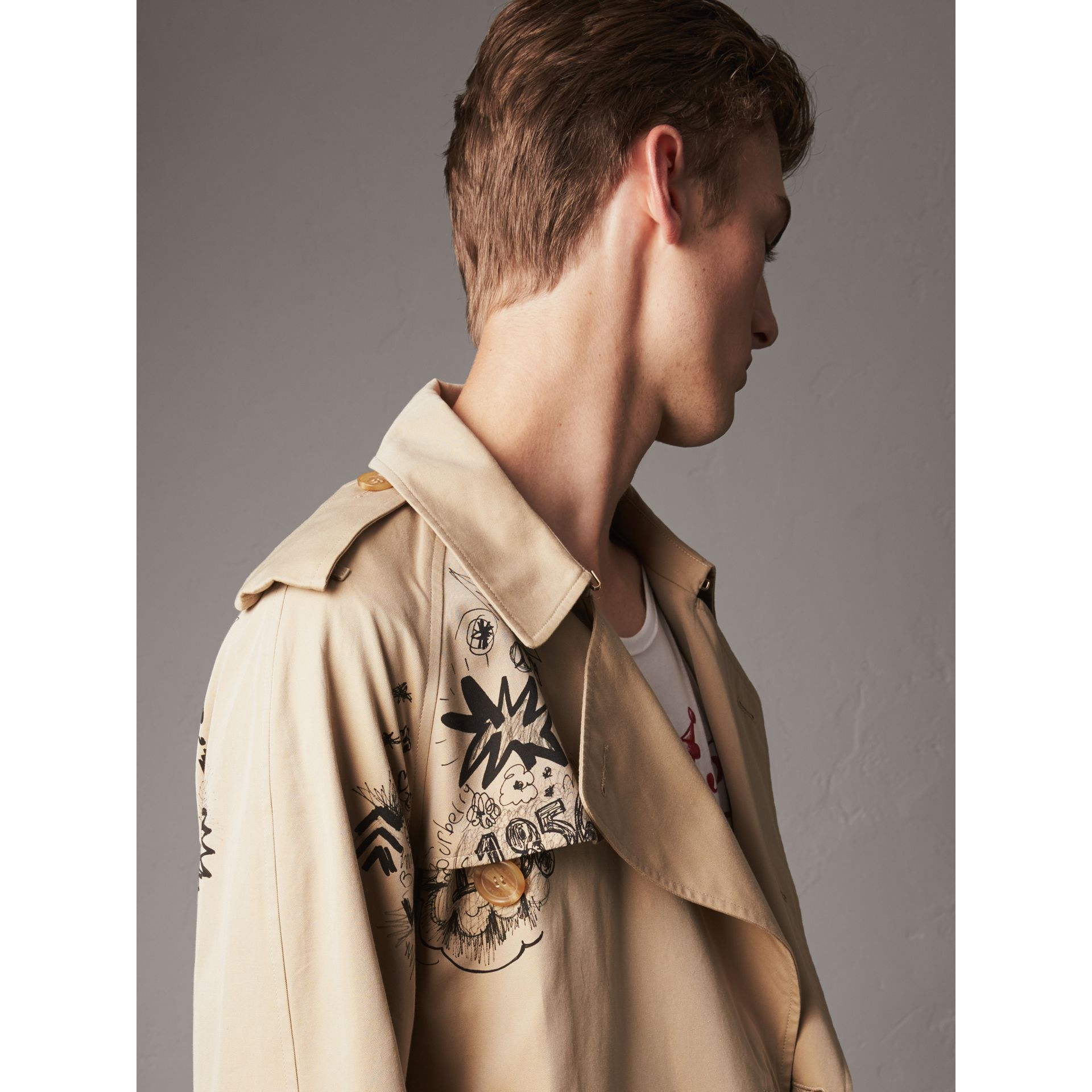 Doodle Print Cotton Gabardine Trench Coat in Honey - Men | Burberry - gallery image 5